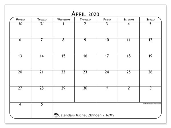 April 2020 Calendar, 67MS. Free printable monthly planner.
