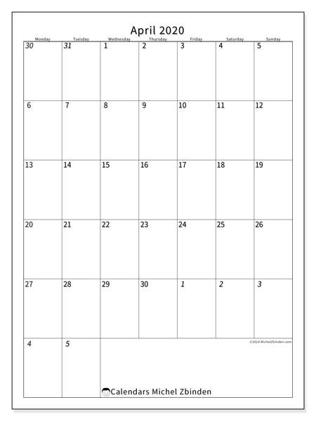 Calendar  April 2020, 68MS