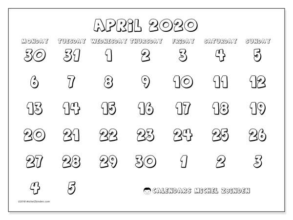 Calendar  April 2020, 71MS