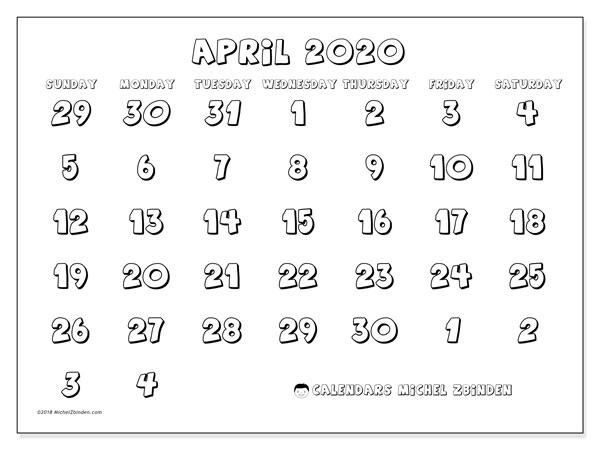 Calendar  April 2020, 71SS