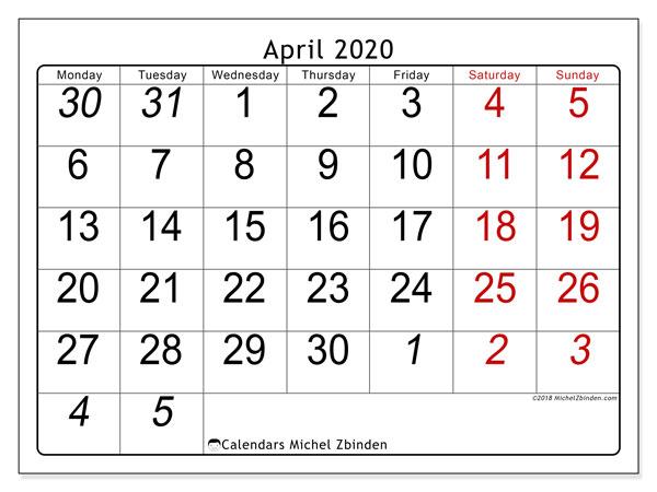 Calendar  April 2020, 72MS