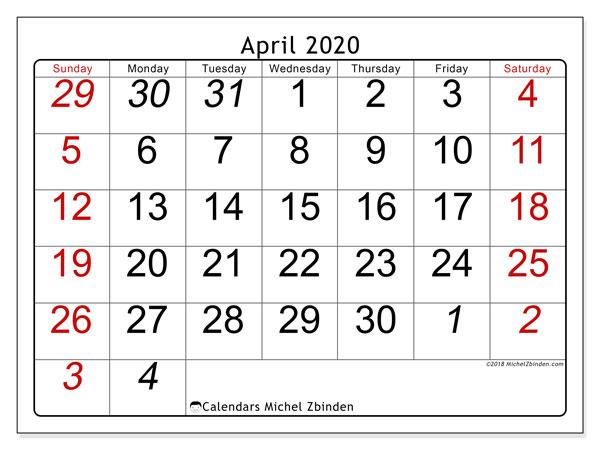 Calendar  April 2020, 72SS