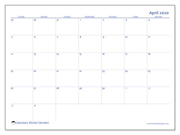 Calendar  April 2020, 73SS
