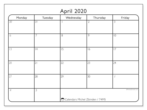 April 2020 Calendar, 74MS. Monthly calendar to print free.