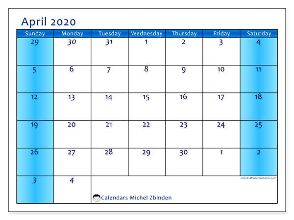 Calendar  April 2020, 75SS