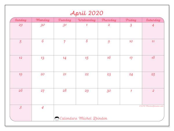 Calendar  April 2020, 76SS