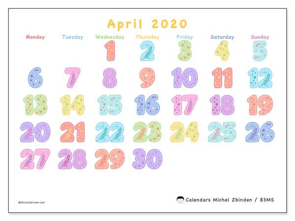 April 2020 Calendar, 83MS. Calendar for the month to print free.