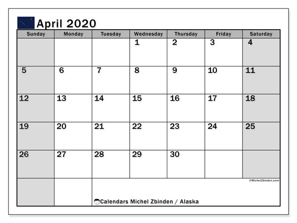 April 2020 Calendar, with the holidays of Alaska. Free printable calendar with public holidays.