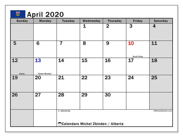 April 2020 Calendar, with the holidays of Alberta. Holidays calendar to print free.