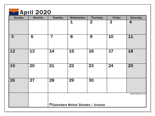 April 2020 Calendar, with the holidays of Arizona. Holidays calendar to print free.