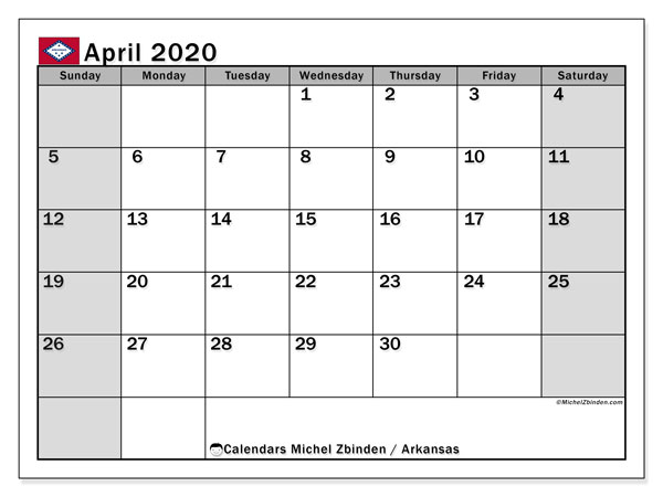 "Printable ""Arkansas"" calendar with public holidays. Monthly April 2020 calendar and free agenda to print."