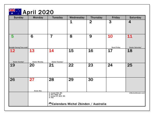 April 2020 Calendar, with the holidays of Australia. Free printable calendar with public holidays.