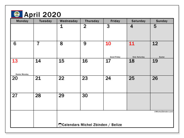 Printable April 2020 Calendar, Belize