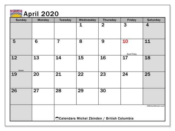 April 2020 Calendar, with the holidays of British Columbia. Holidays calendar to print free.