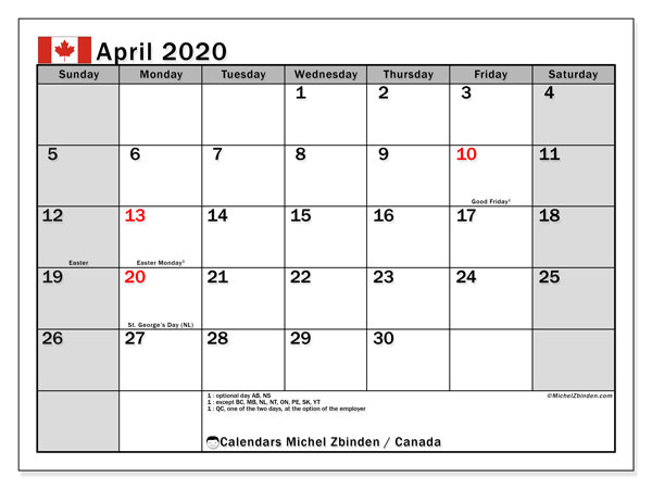 April 2020 Calendar, with the holidays of Canada. Free printable calendar with public holidays.