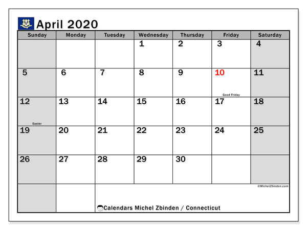 April 2020 Calendar, with the holidays of Connecticut. Free printable calendar with public holidays.