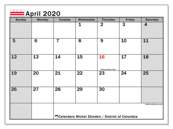 April 2020 Calendar, with the District of Columbia holidays. Holidays calendar to print free.