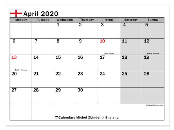 April 2020 Calendar, with the holidays of England. Holidays calendar to print free.