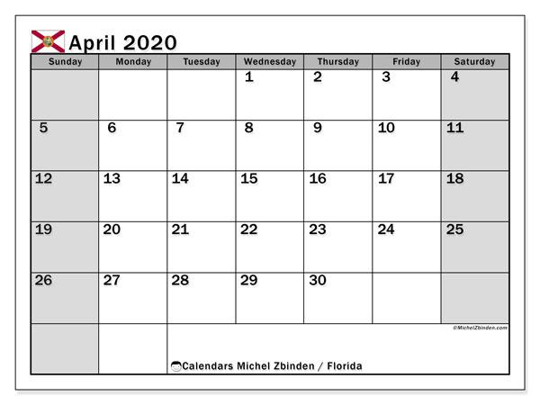 April 2020 Calendar, with the holidays of Florida. Free printable calendar with public holidays.