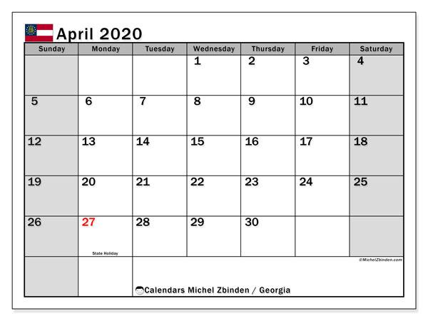 April 2020 Calendar, with the holidays of Georgia. Free printable calendar with public holidays.