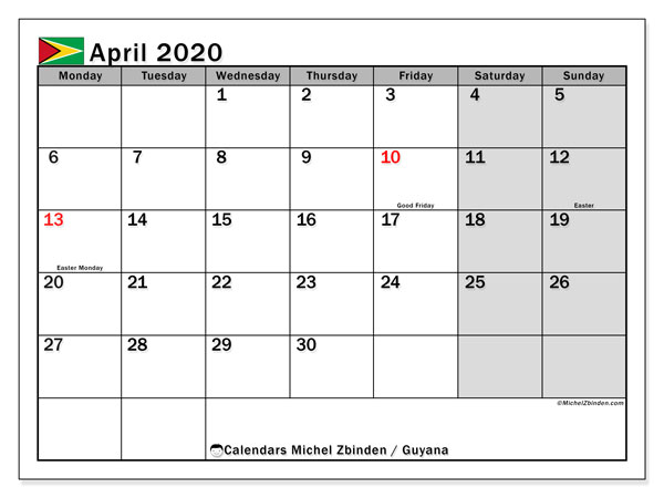 Printable April 2020 Calendar, Guyana