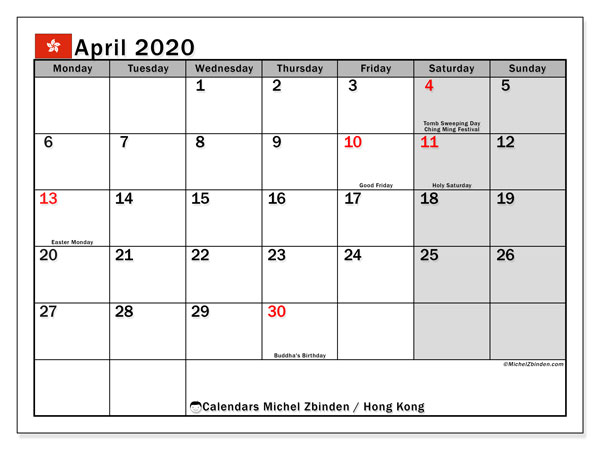 Printable April 2020 Calendar, Hong Kong