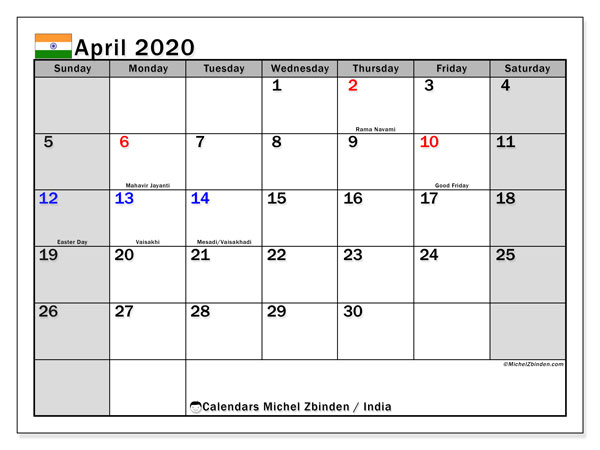 April 2020 Calendar, with the holidays of India. Free printable calendar with public holidays.