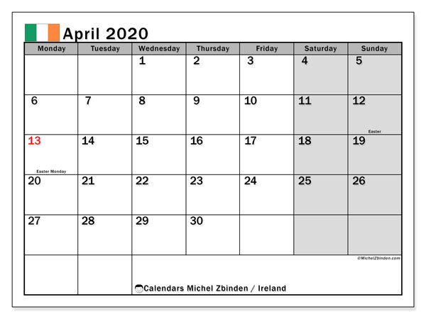 Printable calendars, April 2020, Public Holidays