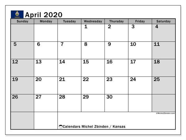 April 2020 Calendar, with the holidays of Kansas. Holidays calendar to print free.