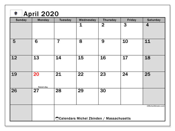 April 2020 Calendar, with the holidays of Massachusetts. Free printable calendar with public holidays.
