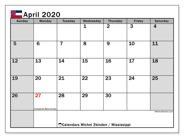 "Printable ""Mississippi"" calendar with public holidays. Monthly April 2020 calendar and free printable bullet journal."
