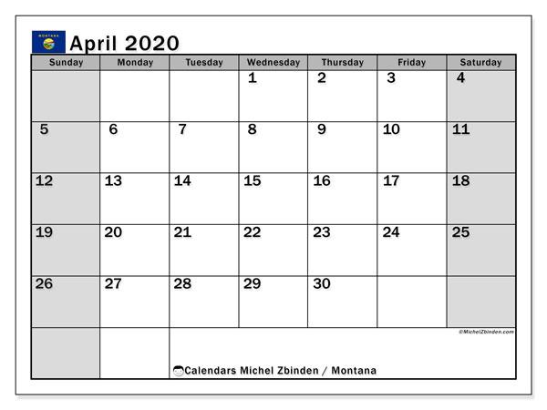 April 2020 Calendar, with the holidays of Montana. Free printable calendar with public holidays.