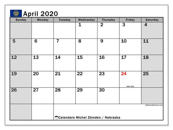 April 2020 Calendar, with the holidays of Nebraska. Holidays calendar to print free.