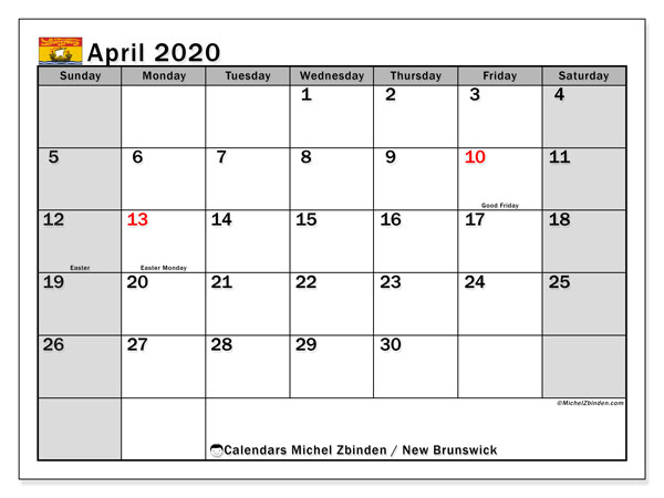 April 2020 Calendar, with the holidays of New Brunswick. Free printable calendar with public holidays.