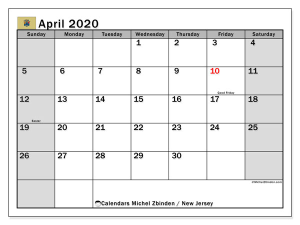 April 2020 Calendar, with the holidays of New Jersey. Free printable calendar with public holidays.