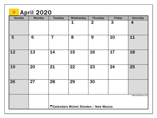 April 2020 Calendar, with the holidays of New Mexico. Free printable calendar with public holidays.