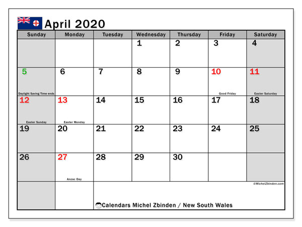 April 2020 Calendar, with the holidays of New South Wales. Free printable calendar with public holidays.