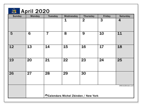 New York Public Holidays 2020 April 2020 Calendar, New York(USA)   Michel Zbinden EN