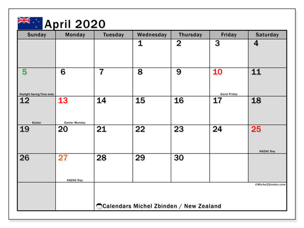 Calendar April 2020, with the holidays of New Zealand. Planner to print free.