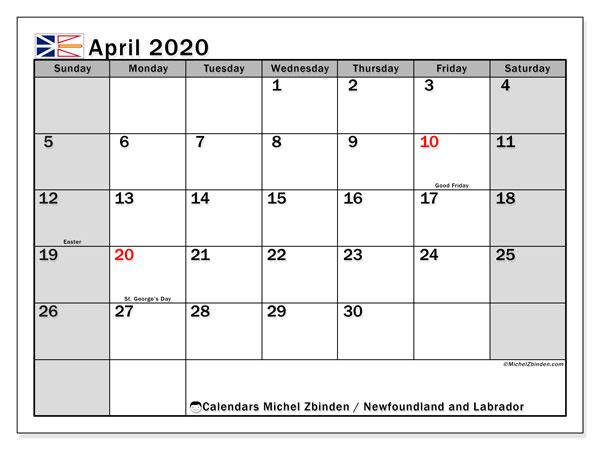 April 2020 Calendar, with the holidays of Newfoundland and Labrador. Free printable calendar with public holidays.