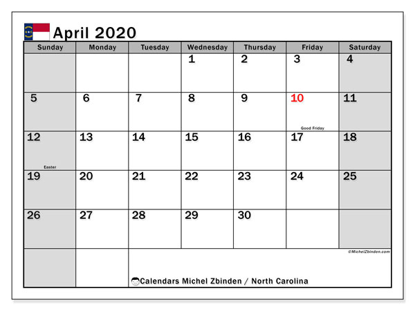 April 2020 Calendar, with the holidays of North Carolina. Free printable calendar with public holidays.