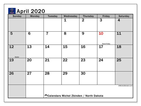 April 2020 Calendar, with the holidays of North Dakota. Free printable calendar with public holidays.