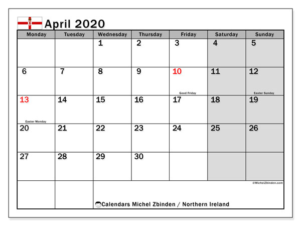 April 2020 Calendar, with the holidays of Northern Ireland. Free printable calendar with public holidays.
