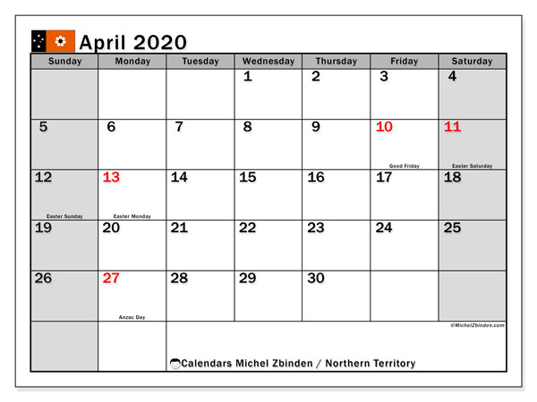 April 2020 Calendar, with the holidays of Northern Territory. Free printable calendar with public holidays.