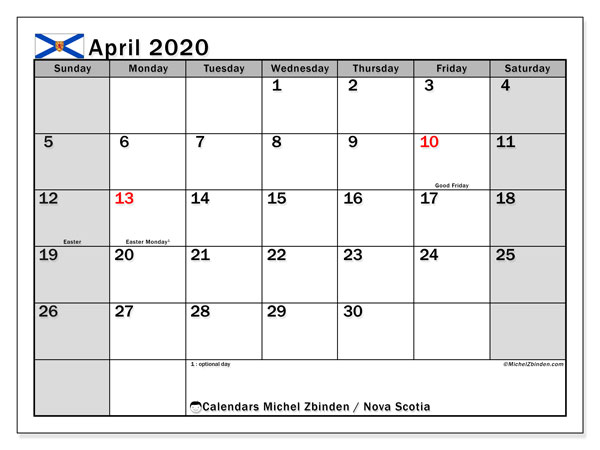 April 2020 Calendar, with the holidays of Nova Scotia. Free printable calendar with public holidays.