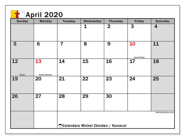 April 2020 Calendar, with the holidays of Nunavut. Holidays calendar to print free.