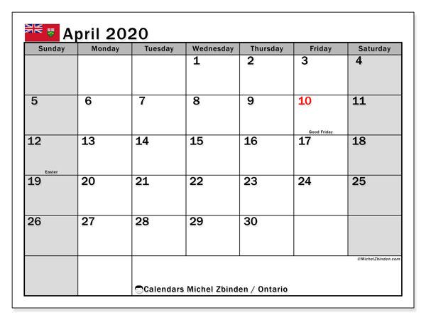 April 2020 Calendar, with the holidays of Ontario. Holidays calendar to print free.