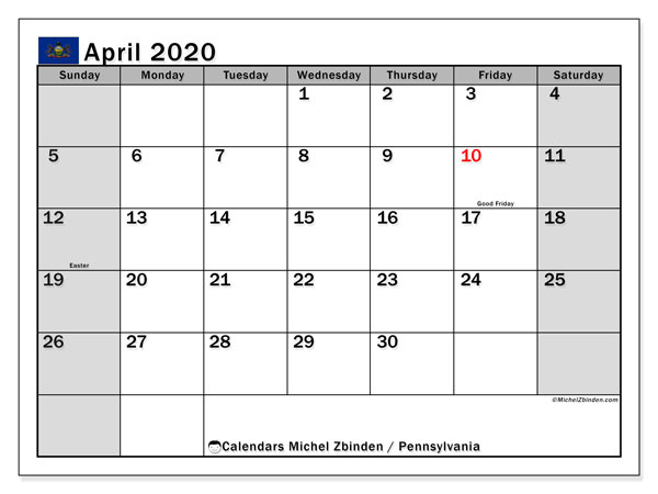 Calendar April 2020 - Pennsylvania. Public Holidays. Monthly Calendar and free planner to print.