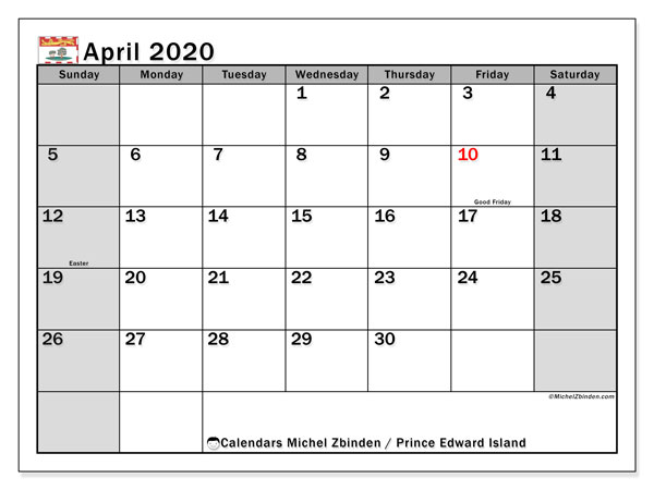 April 2020 Calendar, with the holidays of Prince Edward Island. Free printable calendar with public holidays.