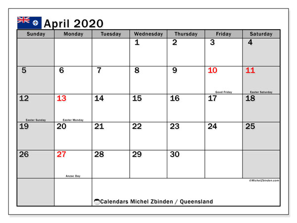 April 2020 Calendar, with the holidays of Queensland. Free printable calendar with public holidays.